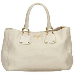 Prada White Vitello Daino Leather Handbag