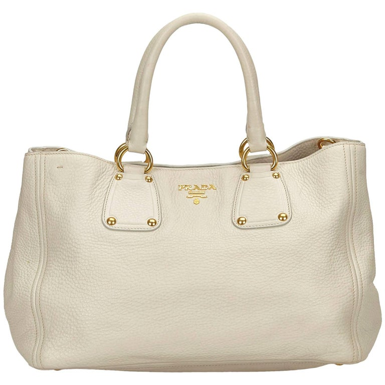 dd280d2b6af6 Prada White Vitello Daino Leather Handbag at 1stdibs