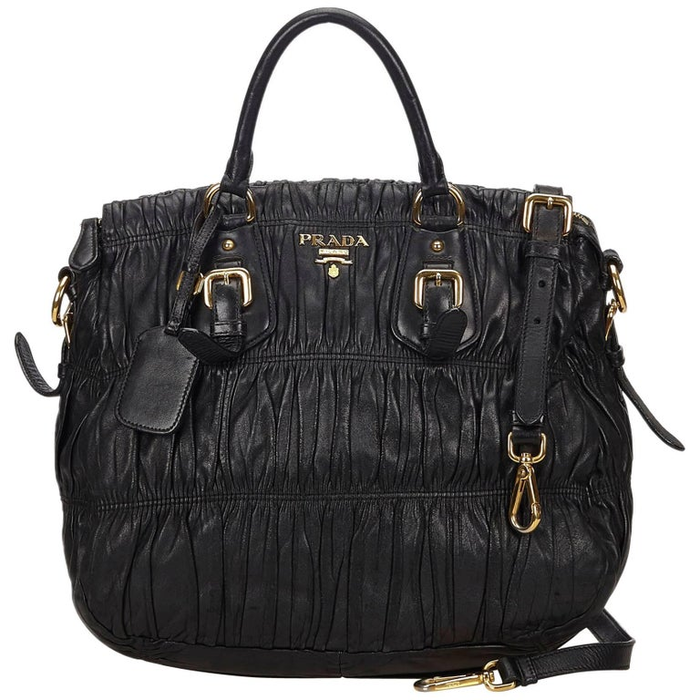 Prada Black Gathered Leather Satchel