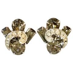 """50'S Silver & """"Black Diamond"""" Austrian Crystal Earrings By, Weiss"""