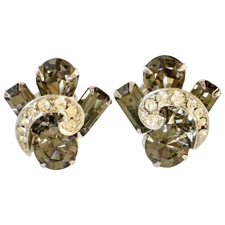 "50'S Silver & ""Black Diamond"" Austrian Crystal Earrings By, Weiss For Sale"