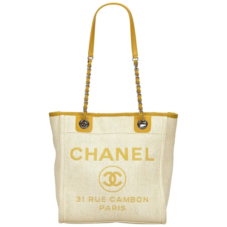 266bfa5c01dd Chanel Yellow Small Deauville Tote For Sale at 1stdibs