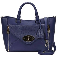 Mulberry Blue Leather Willow Bag
