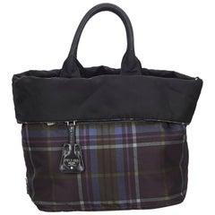 Prada Black Reversible Plaid Nylon Tote Bag