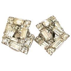 20th Century Silver & Austrian Crystal Dimensional Earrings