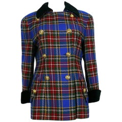 Moschino Vintage Iconic Wool Tartan Plaid Jacket