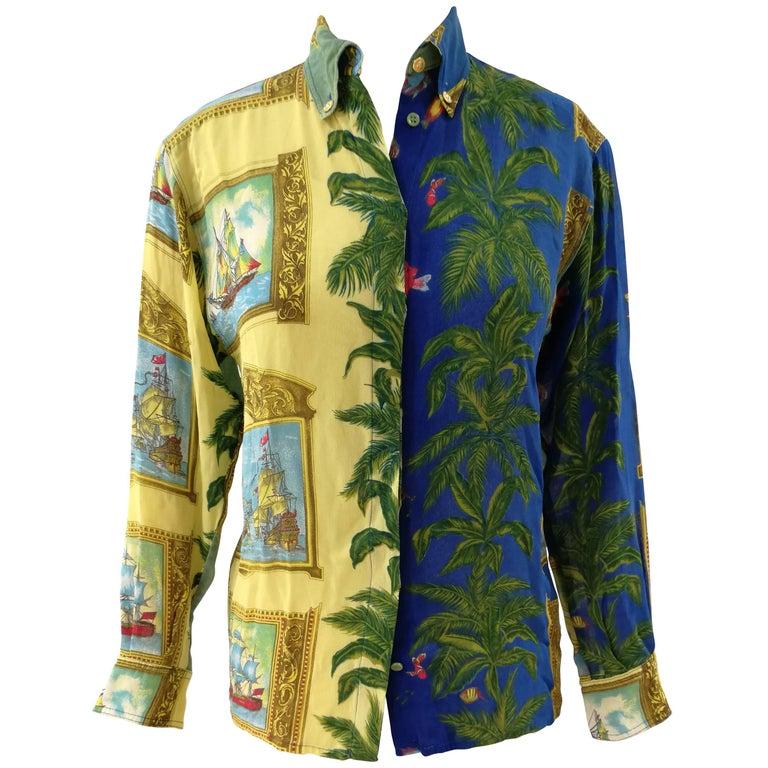 Versace Palms and Sailing Ships Shirt