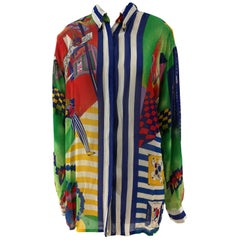 Versace multicoloured Striped Statue of Liberty Shirt