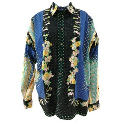 Versace multicoloured Cotton blue Flowers and cats Shirt