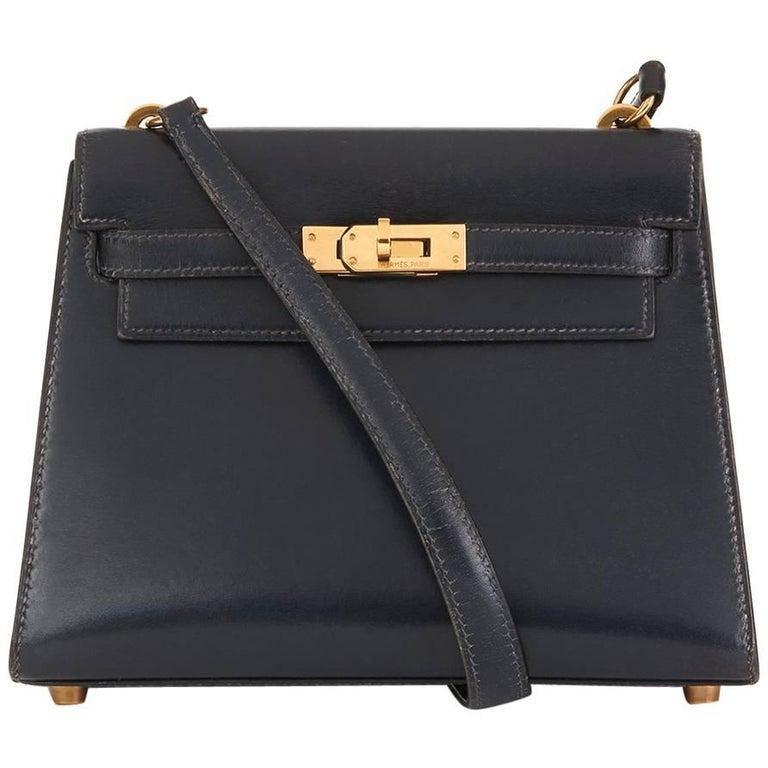 1991 Hermes Navy Box Calf Leather Mini Kelly 20