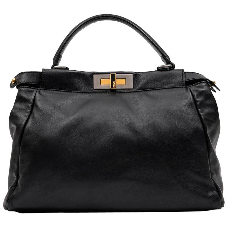 bad6aa90cf FENDI  Peekaboo  Bag in Soft Black Leather For Sale at 1stdibs
