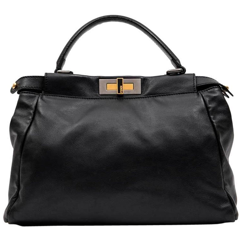 fb0207a844ad FENDI  Peekaboo  Bag in Soft Black Leather For Sale at 1stdibs