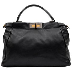 FENDI 'Peekaboo' Bag in Soft Black Leather