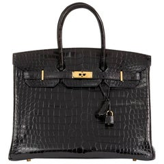 Hermes Black Shiny Porosus Crocodile Leather Birkin 35cm Bag, 2003