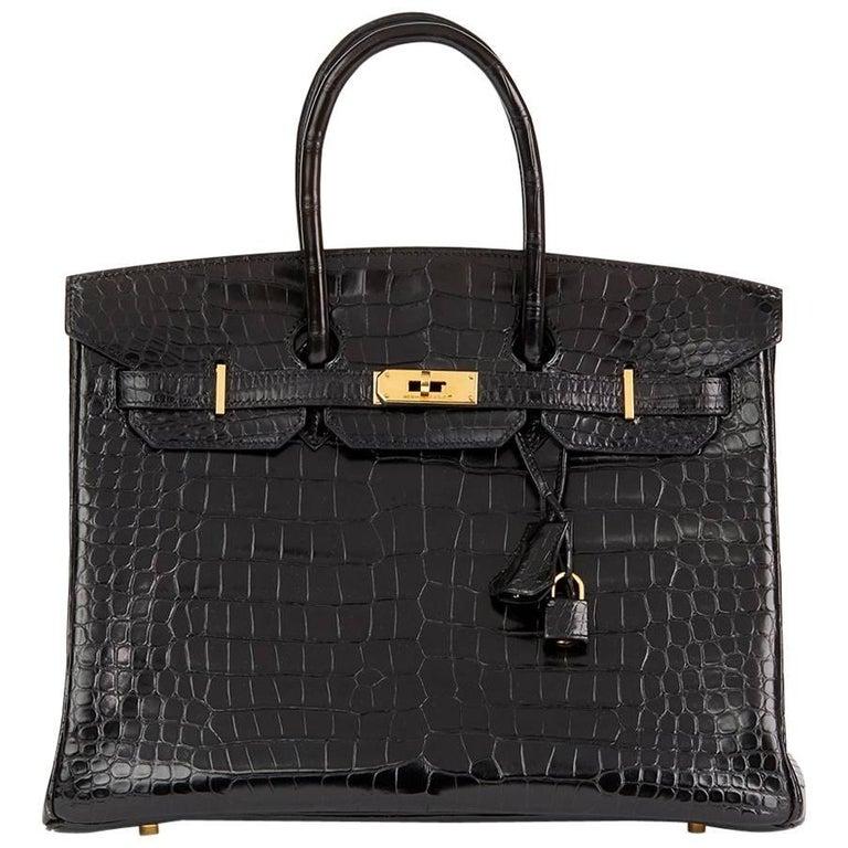 Hermes Black Shiny Porosus Crocodile Leather Birkin 35cm Bag, 2003