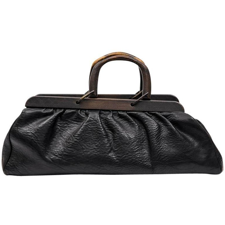 GUCCI Vintage Bag in Black Cowhide Leather and Ribbed Wood