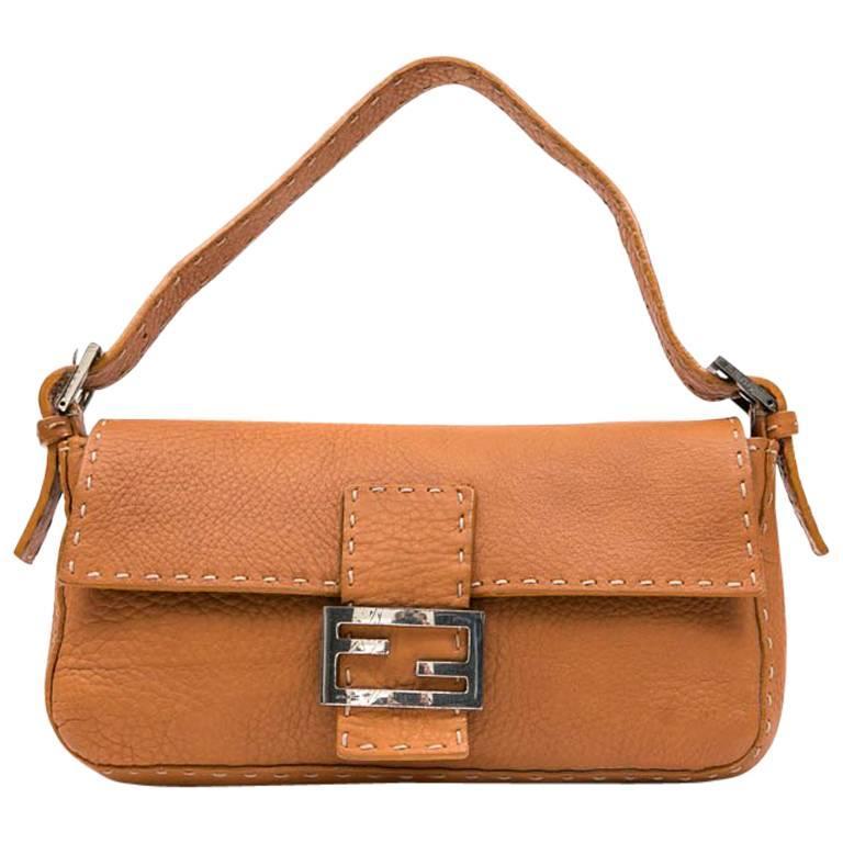 FENDI Baguette Bag in Gold Taurillon Leather