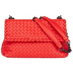 2015 Bottega Veneta Vesuvius Red Woven Calfskin Leather Small Olimpia Bag