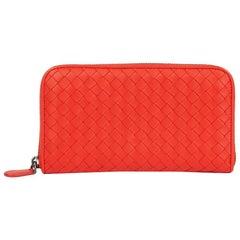 2015 Bottega Veneta Vesuvius Red Woven Calfskin Leather Zip Around Wallet