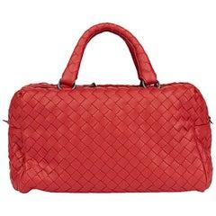 2010's Bottega Veneta China Red Woven Calfskin Leather Mini Top Handle