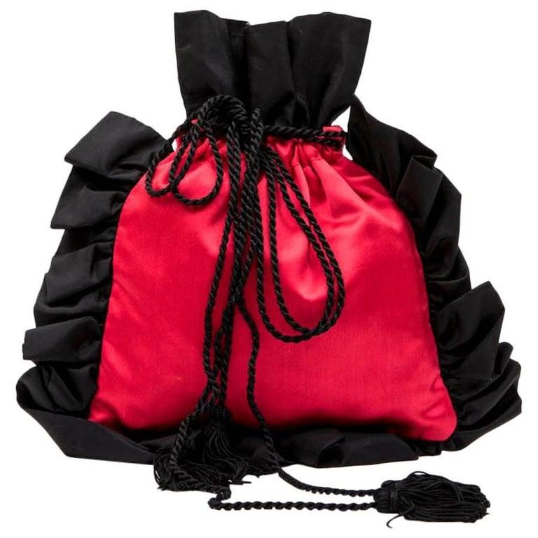 YVES SAINT LAURENT Vintage Minaudière in Red and Black Satin