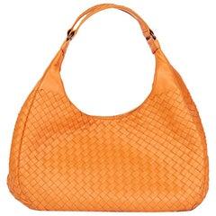 2010's Bottega Veneta Orange Woven Calfskin Leather Medium Campana Bag