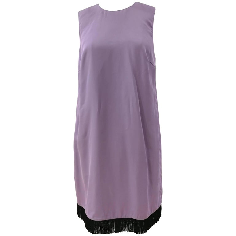 Versace Light Purple Black fringed Silk Dress