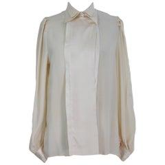 Pancaldi Beige Silk Tuxedo Italian Shirt, 1970s