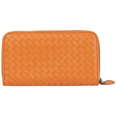 2015 Bottega Veneta Orange Woven Calfskin Leather Zip Around Wallet