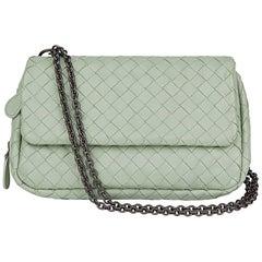 2010 Bottega Veneta Mint Green Woven Calfskin Leather Mini Messenger Bag