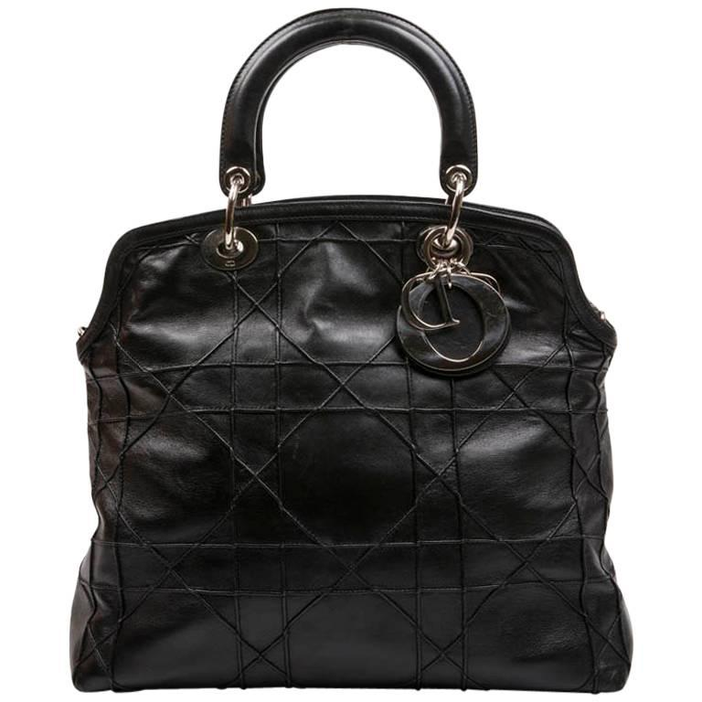 Christian Dior Black Quilted Smooth Lambskin Leather Bag