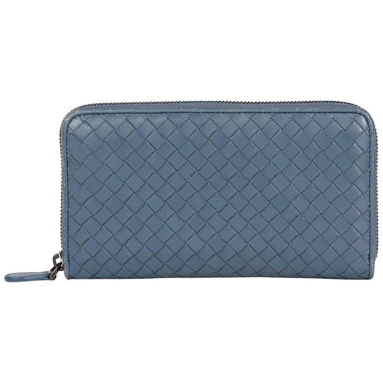2015 Bottega Veneta Light Tourmaline Woven Calfskin Leather Zip Around Wallet