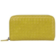 2015 Bottega Veneta Ancient Gold Woven Calfskin Leather Zip Around Wallet