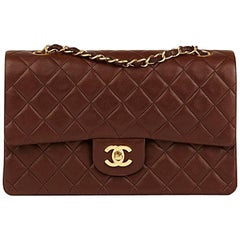 Chanel Chocolate Brown Quilted Vintage Medium Classic Double Flap Bag, 1990