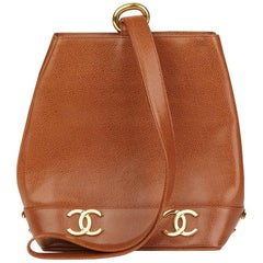 Chanel Brown Caviar Leather Vintage Logo Trim Bucket Bag, 1992
