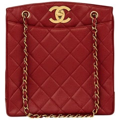 1990 Chanel Red Quilted Caviar Leather Vintage Shoulder Bag