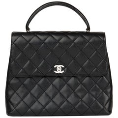 Chanel Black Quilted Caviar Leather Vintage Classic Kelly Bag, 1998