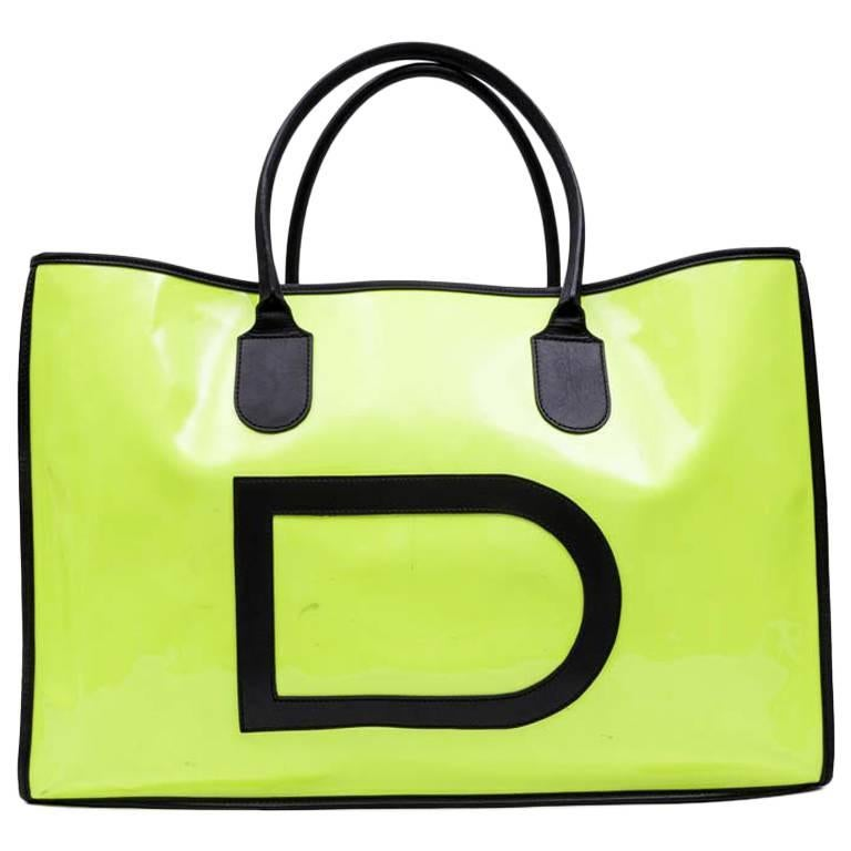 DELVAUX Tote Bag in Yellow Fluorescent Patent Canvas