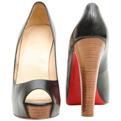 CHRISTIAN LOUBOUTIN High Heels Sandals in Black Lambskin Size 38FR
