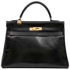 HERMES Vintage Kelly 32 in Black Box Leather