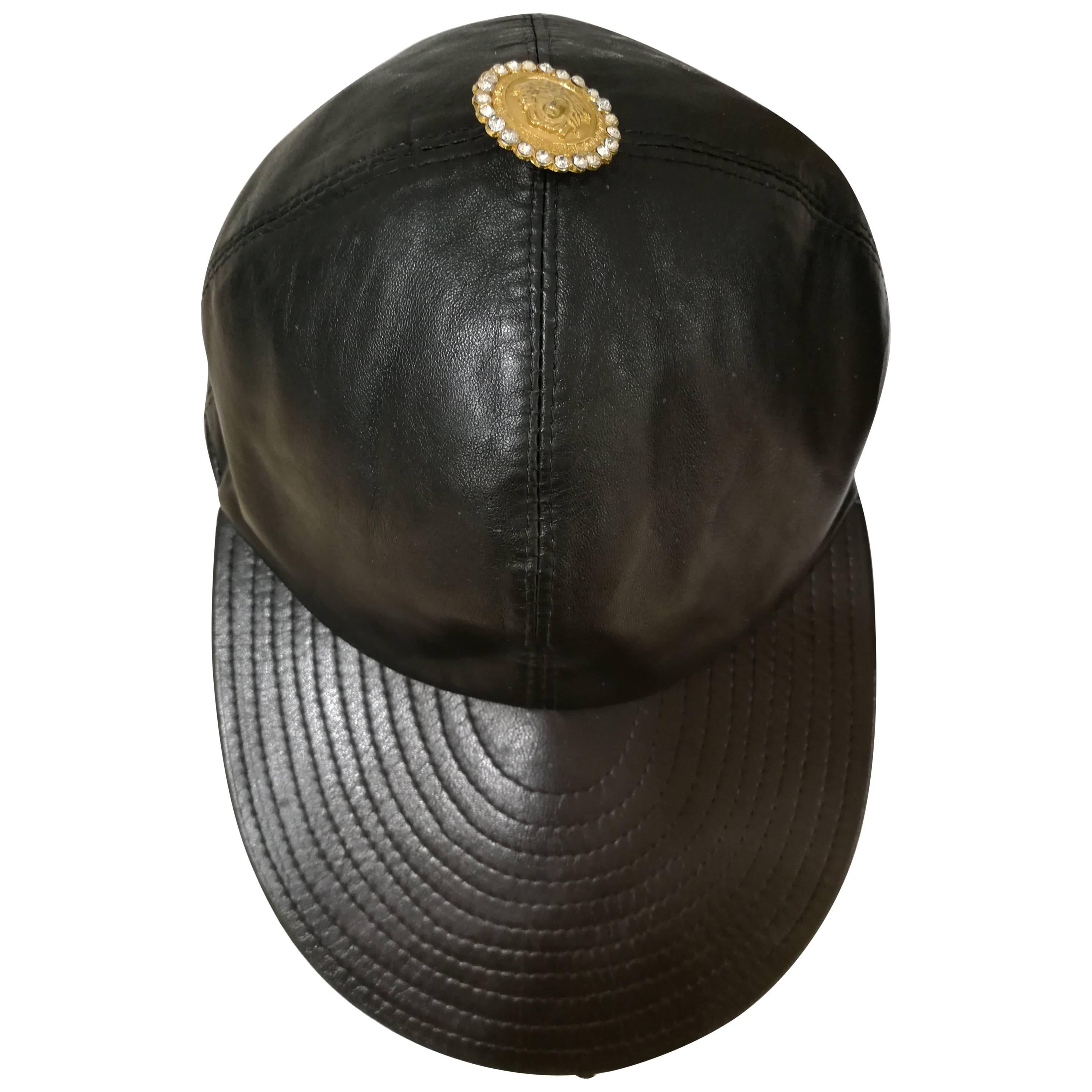 Gianni Versace Black Leather Hat For Sale at 1stdibs ff6fc3831a9