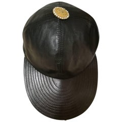 Gianni Versace Black Leather Hat