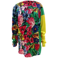 Versace Multicoloured Flowers Cotton Shirt