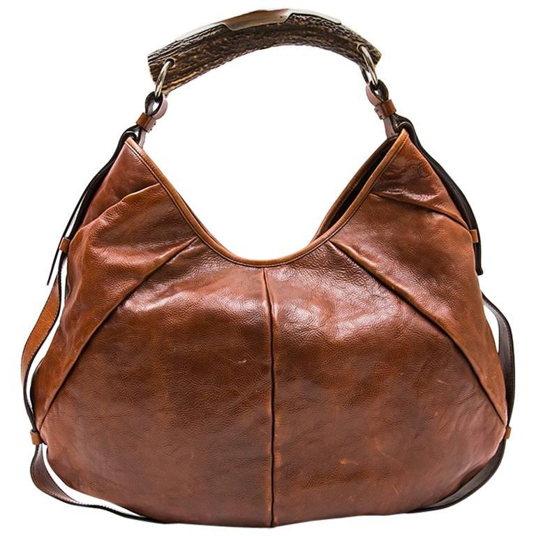 3c999450d51c YVES SAINT LAURENT Rive Gauche  Monbassa  Bag in Grained Brown Leather at  1stdibs