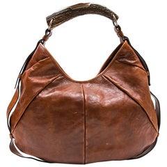 YVES SAINT LAURENT Rive Gauche 'Monbassa' Bag in Grained Brown Leather