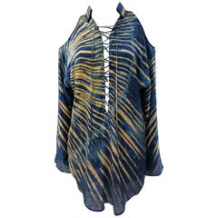 Versace blue and yellow Medusa Silk Blouse