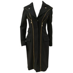 Versace Black wool Gold tone Zip Coat