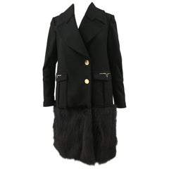 Versace Collection Black Wool and Fox Coat