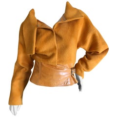 Gianni Versace Couture 1980's Luxurious Orange Wrap Jacket with Leather Trim