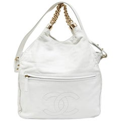 Chanel White Smooth Lamb Leather Bag